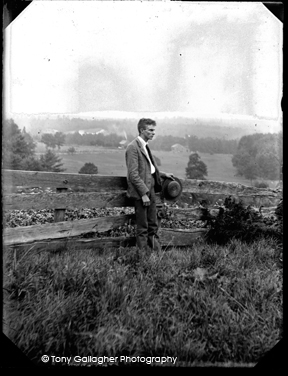 young man in field